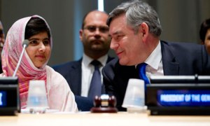 Malala Yousafzai at the UN with Gordon Brown, whose wife Sarah addressed UK pupils on Malala Day