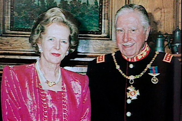 "FILE FOOTAGE MAR94 - Lady Margaret Thatcher and former leader Gen. Augusto Pinochet are seen in this file footage taken in March, 1994, during a private meeting in Santiago. Pinochet was arrested in London October 17 while on a visit to Great Britain for medical treatment and is being held under armed guard at The Clinic in London following an appeal for his extradition to Spain to face charges of genocide and torture. Lady Thatcher said that the former leader ""must be allowed to return to his own country forthwith"" and that ""he did so much to save British lives"" during the 1982 Falklands War when Chile supported Britain in its conflict with Argentina. CD/HB/ME - RTRIN7N"