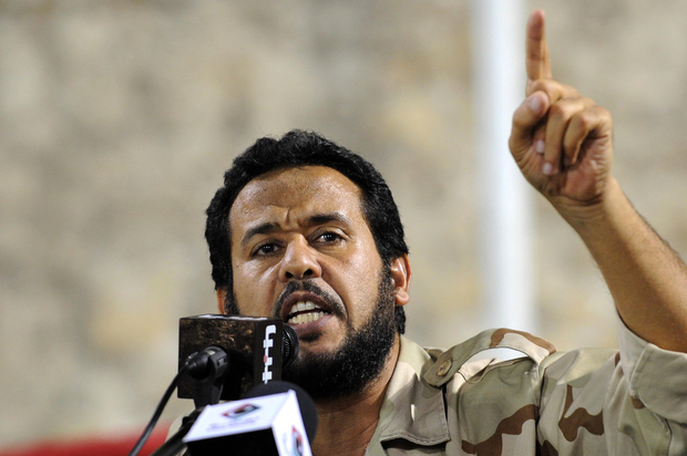 Libyan Tripoli military commander Abdelhakim Belhaj addresses a rally in Tripoli on September 9, 2011. AFP PHOTO/STR / AFP PHOTO / -